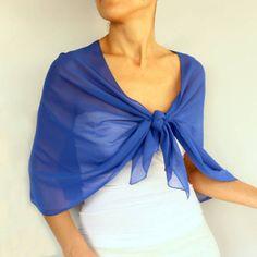 Cobalt Blue Chiffon Shawl Evening Bridal Stole Wrap by mammamiaeme