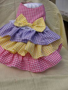 Triple Ruffle Easter Pink, Yellow, and Lavender Checked Dog Dress. $13.00, via Etsy.