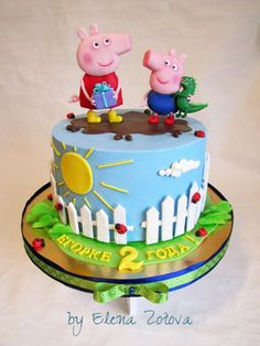 Peppa Pig is a British preschool computer animated television collection instructed plus made by Astley Tortas Peppa Pig, Bolo Da Peppa Pig, Peppa Pig Birthday Cake, Birthday Cake Girls, Peppa Pig Cakes, 2nd Birthday, Bolo Fack, Aniversario Peppa Pig, Pig Party