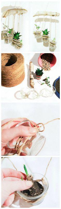 Kostenlose Anleitung: Hängende Blumentöpfe herstellen / free diy tutorial: how to craft hanging flower pots, urban jungle via DaWanda.com