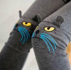 New 2013 women warm winter cat Plus thick velvet embroidered kitten Legging pant #Unbranded
