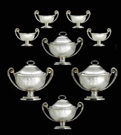 A SUITE OF FOUR GEORGE III SILVER SAUCE TUREENS WITH COVERS AND FOUR SALT CELLARS FROM THE CAMDEN SERVICE   MARK OF PAUL STORR, LONDON, 1794   Christie's Salt Cellars, Reception Rooms, Camden, Vintage Silver, Art Museum, Art Decor, Two By Two, Sculpture, Rustic