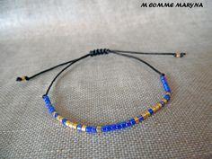 NOUVEAUTÉ Bracelet d'amitié réglable en perles Miyuki delicas Bleu et doré Minimalisme Bohochic Bohemian Bohostyle : Bracelet par m-comme-maryna