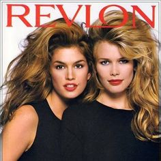 Cindy Crawford and Claudia Schiffer circa 1992 - Love the big hair and red lips!!!