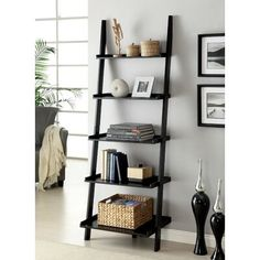 This Unique Ladder Style Accent Piece In Black Finish Has Five Shelves For Display. Best For Attaining Clutter Free Look At Your Home, This Ladder Shelf Featuring Contemporary Style Is Best For Attaining An Organized And Clean Look. Leaning Bookshelf, Ladder Bookshelf, Bookcase Shelves, Black Bookshelf, Glass Shelves, Library Ladder, Wood Ladder, Display Shelves, Bookcases