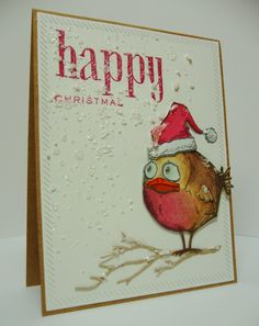 Tim Holtz Bird Crazy at Christmas, Festive Greetings Simple Christmas Cards, Xmas Cards, Handmade Christmas, Crazy Bird, Crazy Cats, Christmas Ecards, Christmas Greetings, Tim Holtz Stamps, Bird Cards