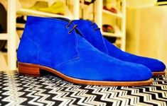 Blue Color Superior Suede Leather Party Wear High Ankle Chukka Boots sold by Leather Art Shop more products from Leather Art 2020 on Storenvy, the home of independent small businesses all over the world. Mens Boots Fashion, Fashion Shoes, Fashion 101, Fashion Trends, Fashion Ideas, High Ankle Boots, Shoe Boots, Men Boots, Dress With Boots