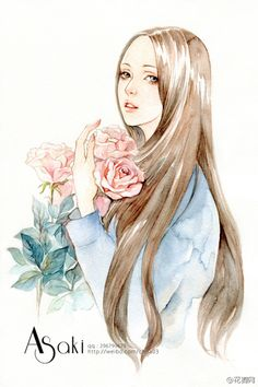 An illustrator @ shallow _Asaki aesthetic watercolor illustration, both flower girl or Meng cat, strokes and delicate colors rich, warm cure