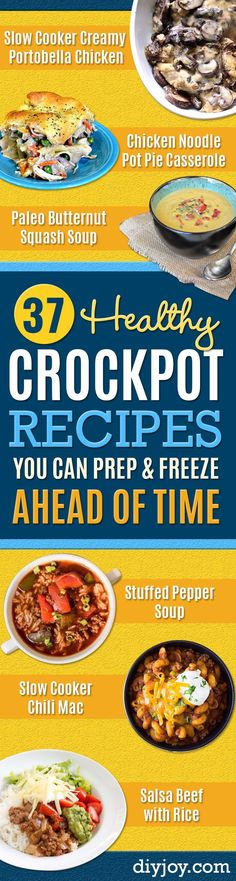 Healthy Crockpot Recipes to Make and Freeze Ahead - Easy and Quick Dinners Soups Sides You Make Put In The Freezer for Simple Last Minute Cooking - Low Fat Chicken Veggies Stews Vegetable Sides and Beef Meals for Your Slow Cooker and Crock Pot http:/ Dog Recipes, Beef Recipes, Beef Meals, Cooking Recipes, Freezer Meals, Crockpot Meals, Freezer Recipes, Freezer Cooking, Chicken Recipes