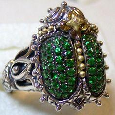 Scarab ring with pave tsavorite. Barbara Bixby. Photo by RSBingham