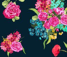 bouquet navy fabric by katarina on Spoonflower - custom fabric