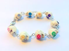 Day of the Dead Sugar Skull Adjustable Chain Bracelet Rainbow Flower Eyes by PennysLane on Etsy