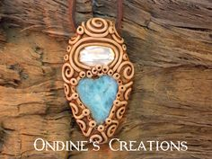 Biwa Freshwater Pearl and Larimar Hand Crafted Crystal Mineral Healing Stone Pendant #119 by OndinesCreations on Etsy
