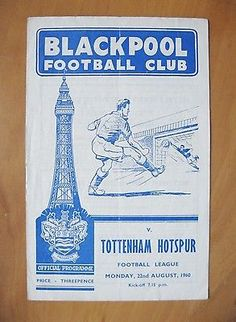 BLACKPOOL v TOTTENHAM HOTSPUR 1960/1961 the programme for the game against Spurs in their double season.