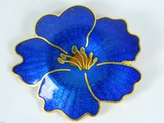 Blue Cloisonne Enamel Flower Pin Chinese Handicraft