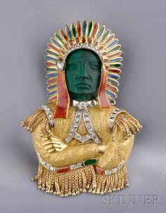 18kt Gold, Malachite, Diamond, and Enamel Indian Chief Brooch, W.A. Sarmento