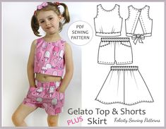 Cute kids summer top, shorts and skirt pdf sewing pattern sizes 2 to 10 years.