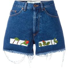 Off-White Embroidered Denim Shorts (€405) ❤ liked on Polyvore featuring shorts, bottoms, blue, blue shorts, blue jean shorts, short jean shorts, denim shorts and blue jean short shorts