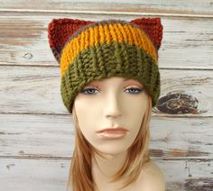 Knit Hat Womens Hat - Cat Beanie Hat in Color Block Hamlet Brown Mustard Green Rust Knit Hat - Womens Accessories Winter Hat by pixiebell on Etsy
