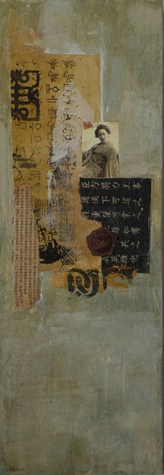 Very nice Asian mixed media launa d. romoff abstract collage mixed/media - galleries