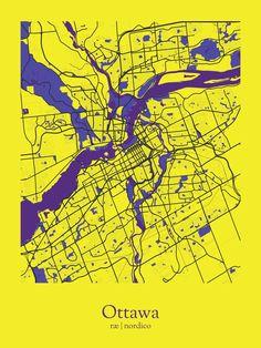 Ottawa, Canada Map Print Ottawa Canada, Vacation, Map, Color, Vacations, Location Map, Colour, Holidays Music, Maps