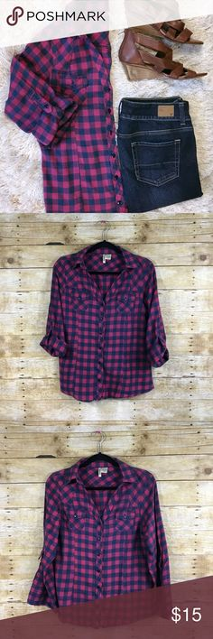 Pink and Blue Button Down Flannel - Junior XL Pink and Blue Button Down Flannel with Roll-up Button Sleeves.  100% Cotton Passport Tops Button Down Shirts