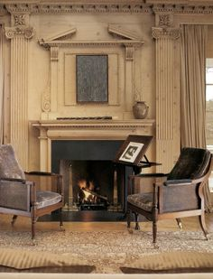 Classic Style Fireplace Mantle with exquisite  Architectural Detail, Columns and Molding stained in a pickled oak.