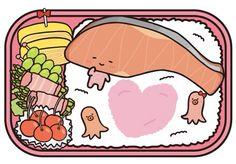 Chibi Food, Cute Chibi, Sanrio, Peanuts Comics, Pokemon, Kawaii, Salmon Fillets