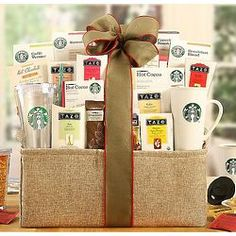 Starbucks Spectacular Gift Basket...This gift is overflowing with coffee, tea and a selection of food to enjoy with friends, family or co-workers.
