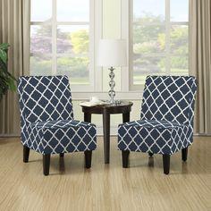 Portfolio Wylie Navy Blue Trellis Print Armless Chairs (Set of 2)
