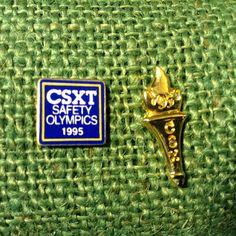 Vintage CSX Railroad 1995 Safety Olympics Pin  1995 CSX Gold