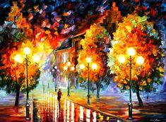 RAIN IN THE NIGHT CITY - PALETTE KNIFE Oil Painting On Canvas By Leonid Afremov http://afremov.com/RAIN-IN-THE-NIGHT-CITY-PALETTE-KNIFE-Oil-Painting-On-Canvas-By-Leonid-Afremov-Size-30-x40.html?utm_source=s-pinterest&utm_medium=/afremov_usa&utm_campaign=ADD-YOUR
