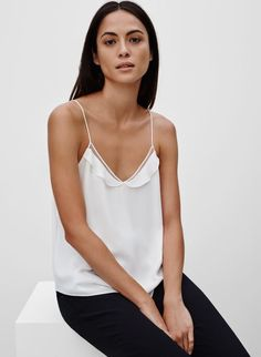 Shop the latest camisoles from Aritzia and its exclusive brands. Check out these silky, drapey, lacey camisoles — perfect for layering or wearing on their own. Boho Fashion, Fashion Outfits, Fashion Tips, Kooples, Weekend Outfit, Daily Look, Minimal Fashion, Classy Outfits, Blouses For Women