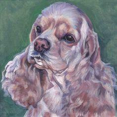 American Cocker Spaniel portrait Canvas print of LA Shepard painting 8x8 dog art