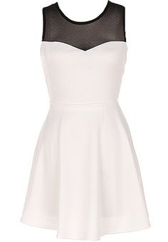 Bow Romancer Dress: Features a chic black mesh yoke with illusion sweetheart neckline, bold criss-crossed straps to the back crowned with a beautiful bow-tie, and an amazing A-line skirt for an ultra romantic finish.