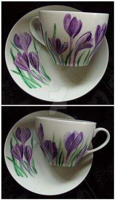 Crocus by Agnieszka Sokołowska. Hand painted on porcelain. All my porcelains are painted with Talens Decorfin Porcelain and baked in high temperature, so they are pretty durable.