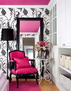 pink chair & ceiling, black design walls
