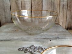 Vintage Gold Rim Glass Serving Bowl-French Country Shabby Chic Farmhouse