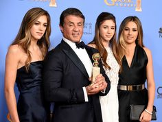5 Precious Father-Daughter Moments from the 2016 Golden Globes - Sylvester Stallone and His Daughters - from InStyle.com