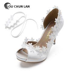 Shoes Women Pumps Peep toe Open toe lace wedding shoes silk stain appliques  size 41  Affiliate 757dccc11a2b