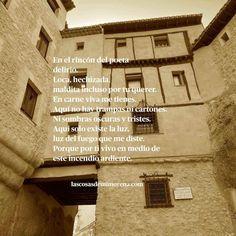 ✍🏼 El rincón del poeta - En Cuenca se encuentra el rincón del poeta, un lugar único y lleno de inspiración y magia. Poema de amor y pasión. Poet, Amor, Sad, Magick, Hipster Stuff