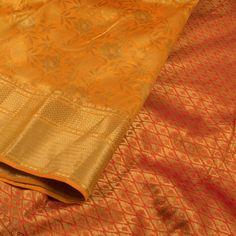 Handwoven Yellow Kanjivaram Silk Saree With Floral Motifs 10013825 - closeup - AVISHYA.COM