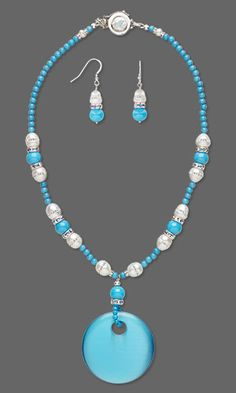 """Single-Strand Necklace and Earring Set with Cat's Eye Glass Focal, Cultured Freshwater and Swarovski Crystal Pearls and Mountain """"Jade"""" Gemstone Beads"""