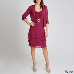 @Overstock - This two-piece set from R & M Richards features crushed satin detailing along the bodice of the dress and trim of the jacket. The flirty, multi-tiered skirt of the dress is topped with a matching sheer jacket to complete this ensemble.http://www.overstock.com/Clothing-Shoes/R-M-Richards-Womens-Crushed-Satin-Jacketed-Dress/7894707/product.html?CID=214117 $72.99