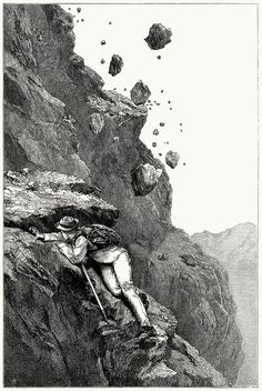 A cannonade on the Matterhorn (1862).    From Scrambles amongst the Alps in the years 1860-69, by Edward Whymper, London, 1871.