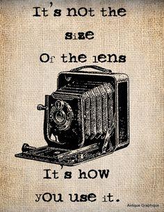 Antique Burlap Camera Photographer Lens  Funny Quote Illustration  Digital Download for Papercrafts, Transfer, Pillows, etc No 1271 via Etsy