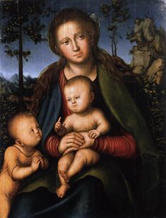 Cranach the Elder-Madonna and Child with the Infant St John  1514  Oil and tempera on wood, 71 x 44 cm  Galleria degli Uffizi, Florence