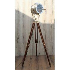 Lampsy Vintage Retro Theatre Spot Light Tripod Floor Lamp, Polished ...