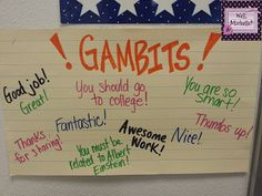 A big part of Cooperative Learning is positivity and praising your peers. This creates a safe environment in the classroom. Gambits is just one way to do this. Kagen Strategies, Cooperative Learning Strategies, Cooperative Games, Kagan Structures, Effective Classroom Management, Classroom Posters, Classroom Ideas, Classroom Charts, Elementary School Counseling