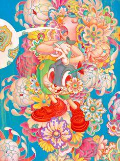 "Juxtapoz Magazine - The story behind James Jean's ""Bouquet"" as seen in ""Juxtapoz x Superflat"" Superflat, Art And Illustration, Arte Inspo, Kunst Inspo, James Jeans, Vancouver Art Gallery, Street Art, Arte Pop, Psychedelic Art"